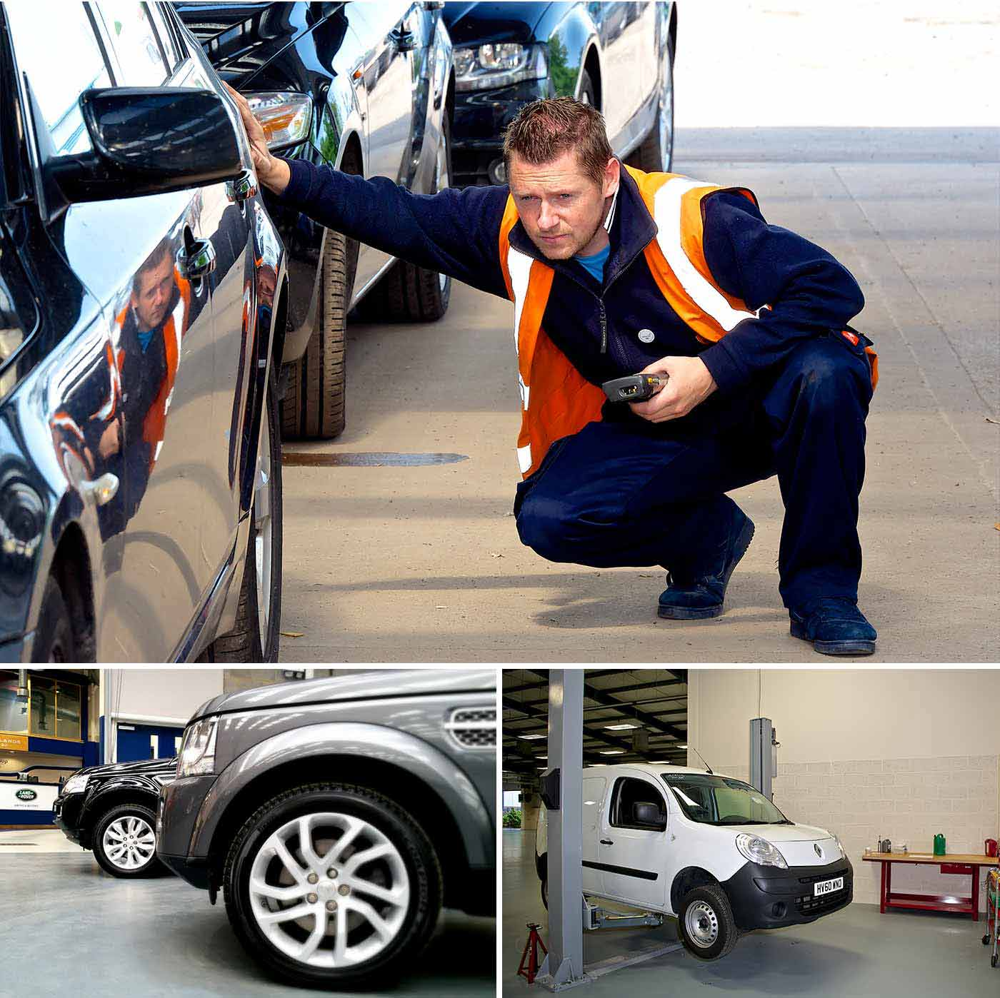 One of our staff inspecting a car, some Land Rovers and a van on a vehicle lift